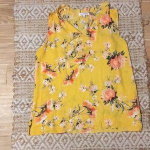 Sheer yellow sleeveless shirt